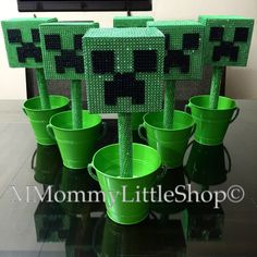 6 MINECRAFT CREEPER Inspired Centerpieces by MMommyLittleShop