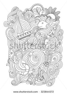 Nautical pattern. Adult coloring page