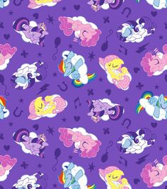 Hasbro My Little Pony Sleeping Ponies Flannel Lavender Wide Fabric By The Yard