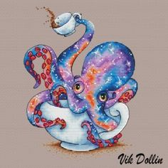 "Cross stitch design ""The Tea octopus"" Designer – Vik Dollin Artist – Mellodee The size of the embroidery: crosses (for canvas aida 14 is cm) Number Learn Embroidery, Cross Stitch Embroidery, Embroidery Patterns, Ribbon Embroidery, Cross Stitch Designs, Cross Stitch Patterns, Cross Stitch Tattoo, Cross Stitch Art, Desenho Tattoo"