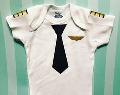 Baby Pilot Onesie Costume - Newborn infant pilot outfit, daddy's copilot, future pilot, first halloween, baby halloween costume, cute onesie