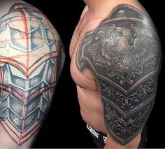 Medieval Armor Tattoos Top 90 best armor tattoo designs for men - walking fortress Armour Tattoo, Body Armor Tattoo, Body Art Tattoos, Sleeve Tattoos, 3d Tattoos, Shoulder Armor Tattoo, Shoulder Tats, Schulterpanzer Tattoo, Cover Up Tattoos
