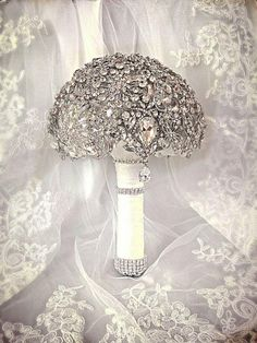 Wedding Brooch Bouquet. Deposit On Made To Order Crystal Bling Brooch Bouquet. Diamond Jeweled Bridal Broach Bouquet