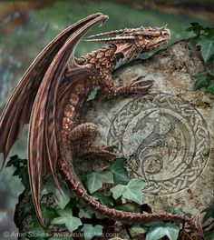 Bronze dragon climbing rock - See this image on Photobucket.