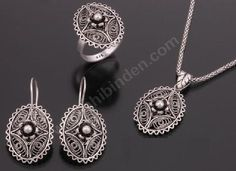 filigree, silver jewelry set