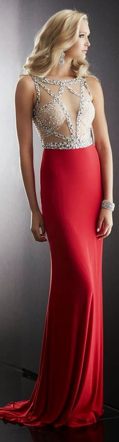 Glamorous red maxi bead embellished top fashion