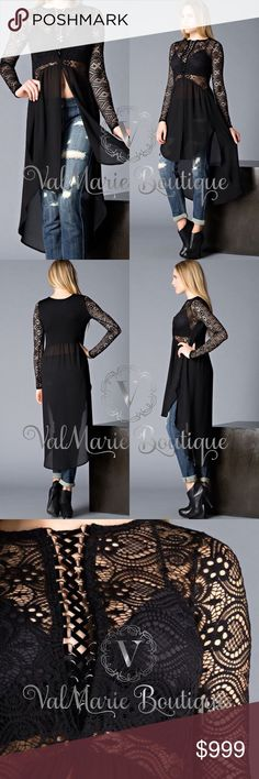 COMING SOON - LACE UP HI-LO ELEGANT TUNIC SLIP 🇺🇸MADE IN USA - Long Sleeve, Hi-Low Lace Top with Deep Slit Neckline. More details coming soon. Arriving by 4/7 ValMarie Boutique Tops