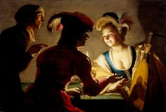 Gerard van Honthorst (4 Nov 1590 – 27 Apr 1656): Dutch Golden Age painter. Early career he visited Rome; great success painting in style influenced by Caravaggio. Following return to Netherlands, became a leading portrait painter. Wikipedia Google