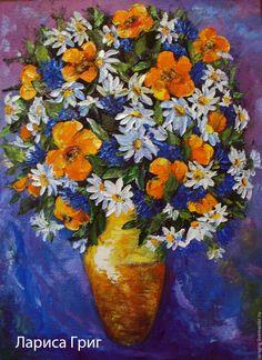 """Купить """"Солнечный букет""""-художник Лариса Григ - желтый, ромашки, васельки, картина для интерьера"""