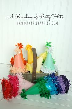 DIY Rainbow Of Party Hats With Tissue Fringe Tutorial At Handcrafted Parties