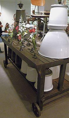 Vintage Lamp and WAY COOL Industrial Vintage Work table