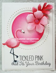 COPIC COLORING: FLAMINGO: RV14, RV11, RV10, C6, C2 HIBISCUS: RV11, RV10 LEAF, FLOWER CENTER: RV14, RV11, RV10 SHADOW: C2 - Details are on my blog. (MFT; My Favorite Things; Tickled Pink) #mftstamps