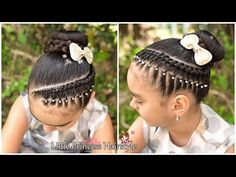 HERMOSO PEINADO CON TRENZA LATERAL , ELASTICOS Y CHONGO 2019 PEINADOS FACILES Y RAPIDOS DE HACER - YouTube Dance Hairstyles, Kids Braided Hairstyles, Princess Hairstyles, Flower Girl Hairstyles, Little Girl Hairstyles, Braids For Kids, Little Girls, Short Hair Styles, Classy