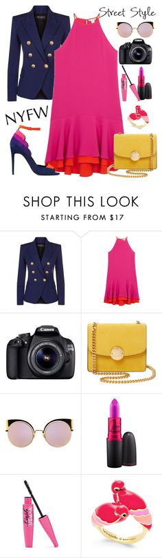 """""""NYFW Street Style: Day One"""" by yinggao ❤ liked on Polyvore featuring Balmain, Diane Von Furstenberg, Eos, Marc Jacobs, Fendi, Kate Spade, Pierre Hardy, StreetStyle and NYFW"""