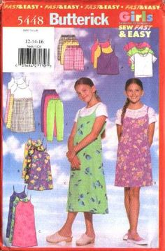 Butterick Sewing Pattern 5448 Girls Size 12-14-16 Easy Wardrobe Top Jumper Pants Shorts Dress  --  Need a different size or pattern? Check out our store www.MoonwishesSewingandCrafts.com for 8000+ uncut sewing patterns all sizes and styles! Buy 2 or more patterns and get an automatic upgrade to Priority Mail in the US!