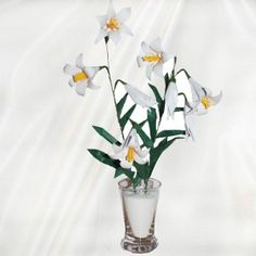 """Origami Easter Lilies"" - 37 folded elements (origami flower & foliage) - Worldwide Delivery  - $39.99"