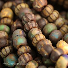 32/0 Large aged striped Czech Picasso beads