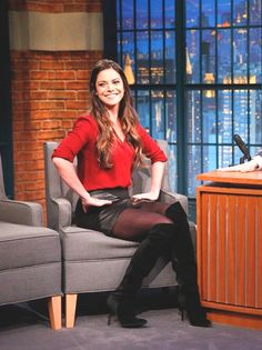 THE APPRECIATION OF BOOTED NEWS WOMEN BLOG : FOX SPORTS' KATIE NOLAN MAKES A MAJOR IMPRESSION ON LATE NIGHT WITH SETH MEYERS BY WEARING A BLACK LEATHER MINI SKIRT AND OVER THE KNEE BLACK SUEDE BOOTS