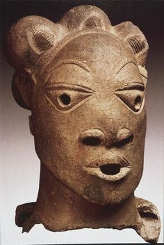 """Nok Head - Prehistoric African 5000 - 500 BCE """" This terra cotta head was once attached to a statue, but was found in a riverbed. It was probably…"""
