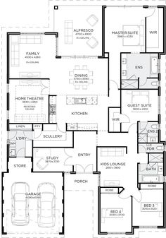 This grand design has everything you could possibly dream of under the one roof. Once you step foot through the double door entry you will quickly learn there is an 4 Bedroom House Plans, Family House Plans, Best House Plans, Dream House Plans, House Floor Plans, Building Plans, Building A House, Home Design Floor Plans, House Blueprints