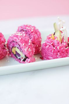 Don't be fooled, this isn't candy, but real vegetarian sushi! The pink rice is dyed with beet juice for AMAZING colorful results. A sushi dream for Valentine's Day! | recipe by Random Acts of Pastel with Juniperwood Kitchen