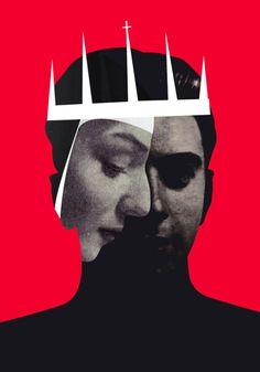 By Roxana Silbert #illustration #collage #crown #black #red #white #portrait