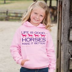 Girls' Horses Make It Better Pink Hoodie