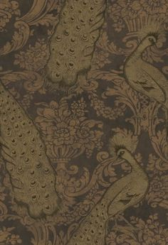 Byron (94/7036) - Cole & Son Wallpapers - Reflecting its name this is a romantic fruit damask with stunning detailed peacocks – with a mottled weather metallic effect.  Shown in the gold and brown colourway. Please request sample for colour match. Paste the wall.
