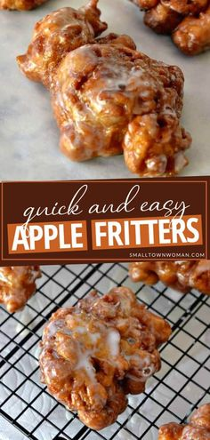 Apple Fritter Recipes, Donut Recipes, Apple Recipes, Fall Recipes, Baking Recipes, Easy Apple Fritters Recipe, Baked Apple Fritters, Apple Snacks, Fried Donuts