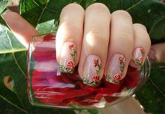 Unhas Decoradas Com Rosas Passo A