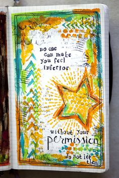 No one can make you feel inferior, art journal page by karenika