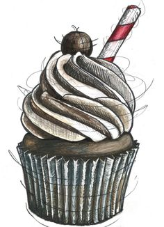 Chocolate Malt Cupcake Illustration. $15.00, via Etsy.