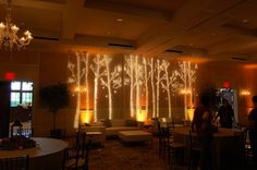 Gobo lighting that reaches this height and fill. Custom Lighting, Unique Lighting, Enchanted Forest Prom, Enchanted Garden, Event Lighting, Wedding Lighting, Dance Decorations, Tree Wedding, Wedding Ideas