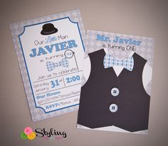 Little Man themed birthday party via Kara's Party Ideas : Cute & Smart Invite