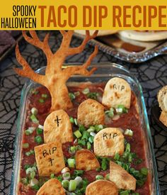How To Make Spooky Halloween Taco Dip | This would be spooky and really yummy. #DIYReady DIYReady.com