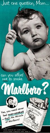 """Vintage advertisement for Marlboro Cigarettes. """"Just one question, Mom. Can you afford NOT to smoke Marlboro? Pin Up Vintage, Pub Vintage, Vintage Signs, Creepy Vintage, Old Advertisements, Retro Advertising, Retro Ads, Vintage Prints, Vintage Posters"""