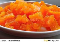 Kandovaná dýně s příchutí pomeranče recept - TopRecepty.cz Dessert Recipes, Desserts, Grapefruit, Cantaloupe, Smoothies, Food And Drink, Candy, Fish, Canning