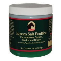 """Kaeco Epsom Salt Poultice by Other. $9.95. Kaeco Epsom Salt Poultice Kaeco Epsom Salt Poultice is a topical gel designed for external applications. It is effective for drawing abscesses and helps reduce swelling and soothes pain caused from bruises, sprains and strains. """"A great choice for insect bites and drawing abscess collections from the feet. We'd keep a jar around just for that..."""" (Horse Journal - August 2004) For Humans too! For years, horse owners have understood the b..."""