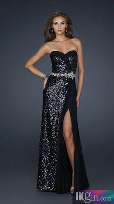 Sheath Sweetheart Sequins Long Prom Dress