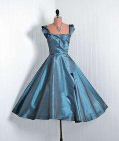 Vestidos pin-up: fotos modelos - Vestido Ceil Chapman seda azul