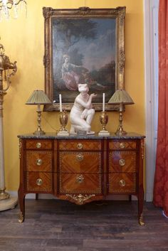French Transition Period Rosewood Veneer Marble-Top Commode, circa 1760 2