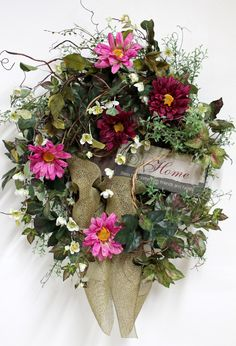 Country Home Wreath, Front Door Wreath, Spring Wreath, Wildflowers, Honeysuckle, Handmade, Summer Wreath, Country Decor