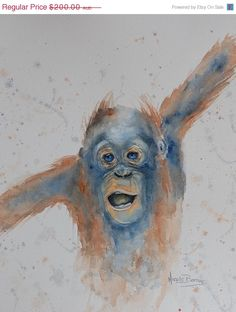 ON SALE Baby Monkey Original watercolour by NicoleBarrosArt
