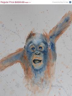 ON SALE Baby Monkey Original watercolour by NicoleBarrosArt