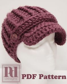 pdf pattern - crochet ribbed newsboy hat with band