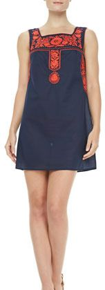 Tory Burch Amira Embroidered Voile Dress on shopstyle.com
