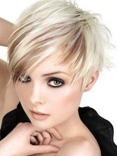 Pixie Haircuts For Round Faces | I love this LOOK. I'd do the same duo color, but with brunette tones!