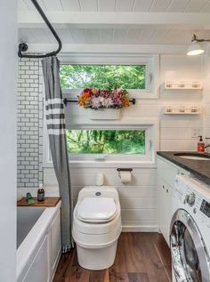 Tiny House Bathrooms are usually a main focus of a new tiny house builder. Here are 5 examples of tiny house bathrooms that could inspire your project. #tinyhousekitchens