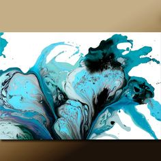 Abstract Art Print 18x24 Matted Turquoise Teal Aqua & Black Contemporary Wall Art  by Destiny Womack - Pure Emotion - dWo on Etsy, $45.00