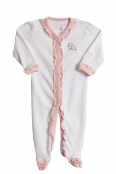 ff5f97b5628fa0 ABSORBA Newborn Baby-Girls Footie, White/Pink, 1 piece footed layette  sleeper / Snap front closure / Machine wash / cotton / By: Absorba,